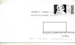 Lettre Flamme Chiffree Sous Code Symbole Inegalité Sur Timbre En Ligne Chien - Marcophilie (Lettres)