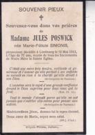 LIMBOURG Marie-Félicie SIMONIS épouse Jules POWICK 77 Ans 1913 Doodsprentje DP Souvenir Mortuaire - Obituary Notices