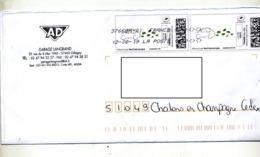 Lettre Flamme Chiffree Sous Code Symbole Inegalité Sur Timbre En Ligne Automobile Verte - Marcophilie (Lettres)