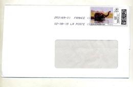 Lettre Flamme Chiffree Sous Code Symbole Inegalité Sur Timbre En Ligne Elephant - Marcophilie (Lettres)