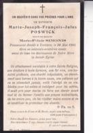 VERVIERS Joseph  POSWICK époux  SIMONIS 69 Ans 1905 Doodsprentje DP Souvenir Mortuaire - Obituary Notices
