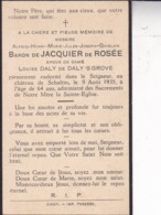 SCHALTIN Alfred Baron De JACQUIER De ROSEE époux DALY De DALY 'S GROVE 64 Ans 1935 Souvenir Mortuaire - Obituary Notices