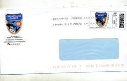 Lettre Flamme Chiffree Sous Code Symbole Inegalité Sur Timbre En Ligne Club Basketball Champagne - Marcophilie (Lettres)