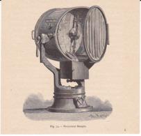 Gravure Projecteur électrique Du Colonnel MANGIN - Vieux Papiers