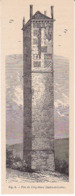 Gravure Pile De CINQ-MARS Indre Et Loire - Tour De Brique Antique Aux Origines Mystérieuses Hauteur 30 Mètres - Old Paper