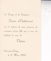 LINCIAUX CINEY 1933 Avis De Naissance Thérèse D'OULTREMONT Fille Du Comte Xavier D'Oultremont Format Carte De Visite - Birth & Baptism