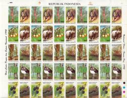 Indonesia 1995, Flora And Fauna, Sheet Of 5 Set Of 10v = 50 Stamps, MNH** - Indonesien