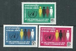 Khmère N° 268 / 70 X Année Internationale De Lutte Contre Le Racisme, Les 3 Valeurs Trace De Charnière Sinon TB - Kampuchea