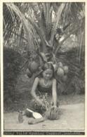 British North Borneo, SABAH SANDAKAN, Malayan Girl Coconut (1930s) Real Photo - Malaysia