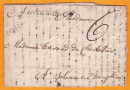 1782 - Lettre Précurseur Pliée Collée Avec Correspondance D' AVIGNON COMTAT Vers Valence En Dauphiné - 1701-1800: Precursores XVIII