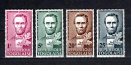 TOGO N° 449 à 452   NEUFS SANS CHARNIERE COTE  2.30€  PRESIDENT LINCOLN - Togo (1960-...)