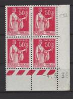 CD 283 FRANCE 1936 COIN DATE 283 : 4 / 5 / 36 TYPE PAIX - Coins Datés