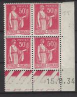 CD 283 FRANCE 1934 COIN DATE 283 : 15 / 11 / 34 TYPE PAIX - Angoli Datati