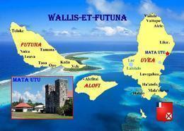 Wallis And Futuna Islands Map New Postcard Inseln Landkarte AK - Wallis Und Futuna