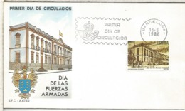 ESPAÑA SPD FDC DIA DE LAS FUERZAS ARMADAS 1986 ARMY DAY - Militares