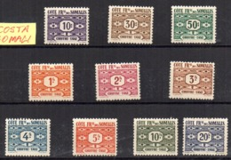 Serie Nº Taxe 44/53 Cote De Somalis - Costa Francesa De Somalia (1894-1967)