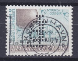 Denmark Perfin Perforé Lochung (L17) 'LB' Landmandsbanken, København Nyborg-Korsør Luftpostrute (Cz. Slania) (2 Scans) - Abarten Und Kuriositäten