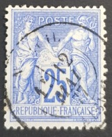 1876-1878, Sage, Pax And Mercur, Type Ll, 25c Blue, France, Empire Française, *,**, Or Used - 1876-1898 Sage (Tipo II)