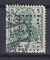Germany Deutsches Reich Perfin Perforé Lochung BIG 'E' 5 Pf. Germania BERLIN W. Cancel (2 Scans) - Abarten