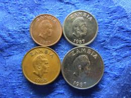 ZAMBIA 1 NGWEE 1983 KM1a, 2 NGWEE 1968 KM10 5 NGWEE 1987 KM11, 10 NGWEE 1987 KM12 - Zambia