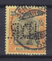 Germany Reichspost Perfin Perforé Lochung 'J.D.R.' 25 Pf. Germania BERLIN 1902 Cancel (2 Scans) - Abarten