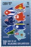 Lote CU2012-25E, Cuba, 2012, Diplomatic Relations Cook Islands, Tonga,  Fiji,  Salomon  Islands , Sello, Stamp, Flag - Cuba