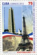 Lote CU2012-12, Cuba, 2012, Sello, Stamp, Relaciones Diplomaticas Cuba-Francia, France, Flag, Eiffel Tower - Cuba