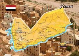 Yemen Country Map New Postcard Jemen Landkarte AK - Jemen
