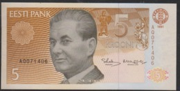 Estonia 5 Krooni 1991 P71a UNC - Estland
