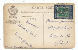 SEMEUSE 5C VERT PORTE TIMBRE BLEU EAU DE BUSSANG AUX ANEMIES CARTE PUB CHOCOLAT LOMBART LYON 1911 - Marcophilie (Lettres)