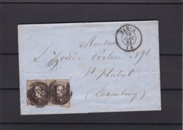 N° 14 : Paire / Lettre De Namur 18 Janv. 1864 Vers Luxembourg Lac - 1863-1864 Medaillen (13/16)