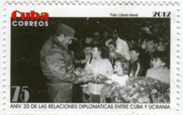 Lote CU2012-19, Cuba, 2012, Sello, Stamp, 20 Años De Las Relaciones Entre Cuba Y Ucrania, Children, Ukraine, Fidel - Cuba