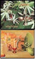 India 2019 Sandalwood Jasmine Aroma Scented Fragrant Miniature Souvenir Sheets Blocks 2v - Blocks & Sheetlets