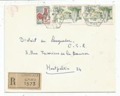 COQ 30C+1FR CARNAC X2 LETTRE REC C. HEX PERLE SOMMIERES GARD 2.11.1966 CP N°5 - Marcophilie (Lettres)