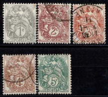 France Blanc 1900-1924 - Série YT 107 à 111 - 1900-29 Blanc