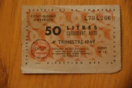 Rationnement - Ocrpi 50 Litres Carburant Auto 1946 - Historische Dokumente