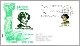 Centenario Del Nacimiento De ADOLFO BECQUER. SPD/FDC Madrid 1970 - Escritores