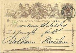 "1873 - Carte Postale - ""BRUXELLES"" Vers Dolhain-Baelen - Stamped Stationery"
