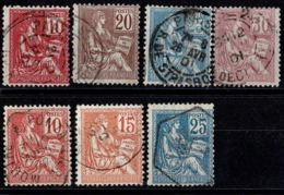 France Mouchon 1900-1901 - Série YT 112 à 118 - Oblitérés - 1900-02 Mouchon