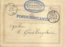"1877 - Carte Postale - ""ZELE (double Cercle)"" Vers Geersberghen - Poste Restante - Stamped Stationery"