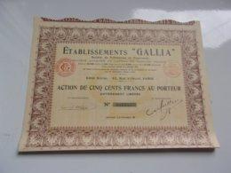 GALLIA Pelleteries Et Fourrures (capital 13,25 Millions) 1929 - Actions & Titres