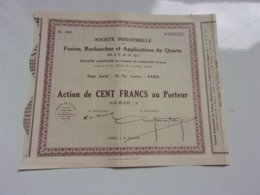 SIFRAQ Fusion,recherches Et Applications Du Quartz (capital 1,2 Million) 1929 - Actions & Titres