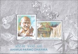 India 2019 Mahatma Gandhi Ahimsa Parmo Dharma Dove Peace Miniature Souvenir Sheet Block MNH - Blocks & Sheetlets