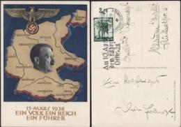 Germany - Adolf H. Postcard,'Ein Volk Ein Reich Ein Führer! Annexation Of Austria. SST. München 10.4.1938. - Duitsland