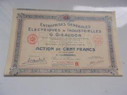 Entreprises Generales Electriques & Industrielles G. GIRAUDON (capital 20 Millions) - Actions & Titres
