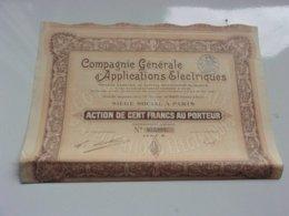 COMPAGNIE GENERALE D'APPLICATIONS ELECTRIQUES (capital 6 Millions) 1929 - Actions & Titres
