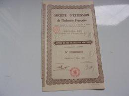 EXTENSION DE L'INDUSTRIE FRANCAISE (1929) - Actions & Titres