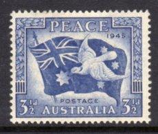 AUSTRALIA - 1946 VICTORY BLUE 3 1/2d DOVE BIRD STAMP FINE MOUNTED MINT MM * SG 214 - 1937-52 George VI