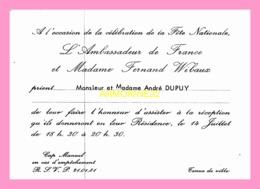 Carton D Invitation De L Ambassadeur De France Et Madame Fernand Wilbaux (SENEGAL) - Announcements