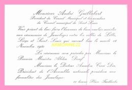 Carton D Invitation  De Monsieur André GUILLABERT  President Du Conseil Municipal De St Louis (SENEGAL) - Announcements
